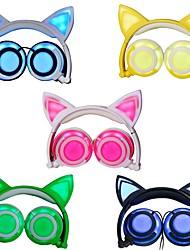 cheap -Cat Ear Headphones, Wired On-ear Foldable LED Flashing Lights USB Charger Earphone Headset for Children, Compatible with iOS Phone and Android Phone Laptop
