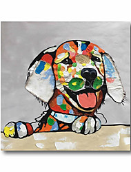 cheap -Oil Painting Hand Painted Square Animals Pop Art Modern Realism Stretched Canvas