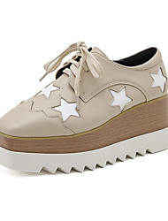 cheap -Women's Heels Wedge Heel Square Toe Casual Daily Walking Shoes PU Sequin Lace-up Galaxy Almond White