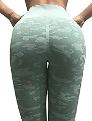 cheap -Women's Tight Push Up Sports High Waist Stretchy Camouflage Workout Leggings Green Large