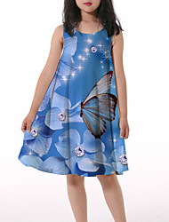 cheap -Kids Little Girls' Dress Butterfly Graphic Animal Ruched Print Blue Knee-length Sleeveless 3D Print Cute Dresses Loose 4-13 Years