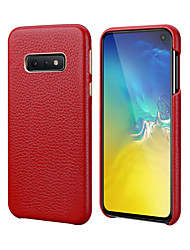 cheap -Phone Case For Samsung Back Cover Leather S10 S10 + Galaxy S10 E Shockproof Solid Colored Genuine Leather