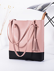 cheap -Women's Bags PU Leather Tote Tassel Classic Fashion Shopping Daily 2021 Tote Handbags Black Grey Black Blushing Pink Brown