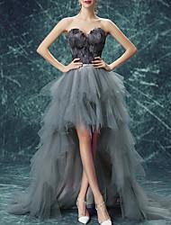 cheap -A-Line Empire Elegant Engagement Prom Dress Sweetheart Neckline Sleeveless Sweep / Brush Train Tulle with Sash / Ribbon Ruffles Tier 2021