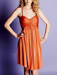 cheap -A-Line Celebrity Style Minimalist Homecoming Cocktail Party Dress Spaghetti Strap Sleeveless Short / Mini Chiffon with Pleats 2021