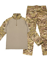 cheap -Men's Hunting Jacket with Pants Outdoor Waterproof Ventilation Wearproof Fall Spring Camo / Camouflage 100% Polyester Black Camouflage Camouflage Gray