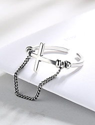 cheap -Adjustable Ring Mismatched Silver S925 Sterling Silver Cross Dangling Fashion Trendy 1pc Adjustable / Women's