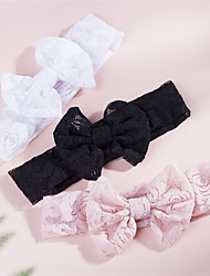 cheap -1pcs Infant Girls' Active / Sweet Solid Colored Bow Lace Hair Accessories White / Black / Blushing Pink