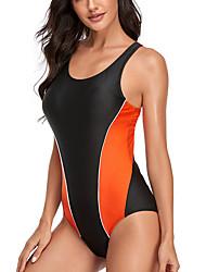 cheap -Women's One Piece Bikini Swimsuit Racerback Open Back Print Stripe Blue Yellow Orange Swimwear Padded Strap Bathing Suits New Cute Sweet / Romper / Tattoo / Padded Bras / Slim