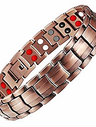 cheap -Copper Bracelet for Men 4 Elements Magnetic Bracelets Pain Relief for Arthritis Elegant 99.99% Solid Copper Jewelry with Magnets