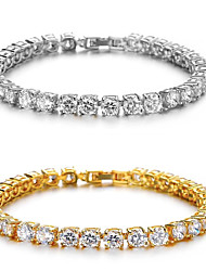 cheap -Men's AAA Cubic Zirconia High End Crystal Tennis Bracelet Stylish Luxury Sparkle Hip-Hop Boho Cubic Zirconia Bracelet Jewelry Gold / Silver For Wedding Gift Masquerade Engagement Party Prom Street