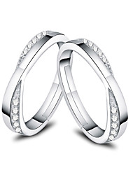 cheap -Couple Rings Synthetic Diamond Solitaire Silver S925 Sterling Silver Love Precious Elegant Fashion 1 Pair Adjustable / Couple's / Adjustable Ring