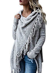 cheap -Women's Basic Tassel Knitted Solid Color Poncho Sweater Cotton Long Sleeve Sweater Cardigans Crew Neck Fall Winter Army Green Khaki Light gray