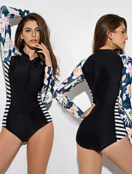 cheap -Women's One Piece Swimsuit Elastane Swimwear Bodysuit UV Sun Protection Quick Dry Breathable Long Sleeve Front Zip Vintage - Swimming Surfing Water Sports Floral Striped Floral / Botanical Spring