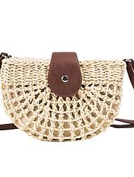 cheap -Women's Bags Polyester Crossbody Bag Straw Bag Buttons Zipper Patchwork Daily Going out 2021 Straw Bag MessengerBag Khaki Beige