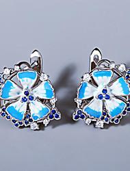 cheap -Women's AAA Cubic Zirconia Earrings Monogram Petal Elegant Romantic Sweet Earrings Jewelry Silver For Party Evening Gift Date 1 Pair