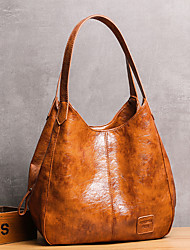 cheap -Women's Bags PU Leather Tote Hobo Bag Zipper Embossed Plain Daily Going out 2021 Handbags Black Green Brown