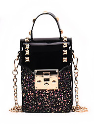 cheap -Women's Bags PU Leather Crossbody Bag Rivet Buttons Plain Sequin Daily Going out 2021 Handbags Chain Bag Black Blushing Pink Rainbow Beige