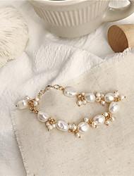 cheap -Women's Pearl Bracelet Geometrical Heart Stylish Simple Copper Bracelet Jewelry Silver For Daily Promise