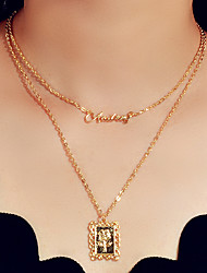 cheap -Women's Layered Necklace Flower Trendy Alloy Gold 42 cm Necklace Jewelry For Engagement