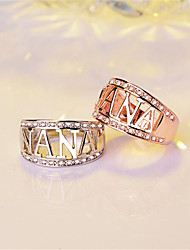 cheap -Ring Name Rose Gold Silver Copper Rhinestone Gold Plated Letter Fashion 1pc 7 8 9 / Women's