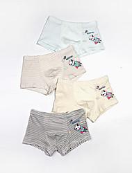 cheap -Kids Boys' Underwear 4 Pieces Blue Panda Striped Print Cotton Basic