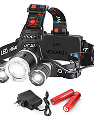 cheap -T26 Headlamps 150 lm LED LED 3 Emitters 5 Mode with Batteries and Charger Rotatable Portable Professional Camping / Hiking / Caving Everyday Use Cycling / Bike 202 headlight high version