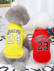 cheap -Dog Cat Shirt / T-Shirt Letter & Number Basic Cool Adorable Dailywear Casual / Daily Dog Clothes Puppy Clothes Dog Outfits Breathable Yellow Red Blue Costume for Girl and Boy Dog Polyster S M L XL XXL