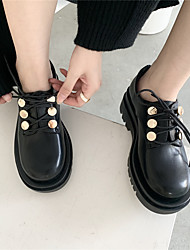 cheap -Women's Heels Chunky Heel Round Toe Classic Daily PU Solid Colored Black patent leather Black matte