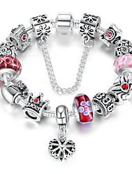 cheap -Women's Clear Cubic Zirconia Bracelet Geometrical Heart Stylish Simple Alloy Bracelet Jewelry Black / Blue / Pink For Daily Promise