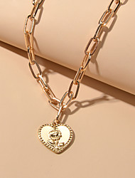 cheap -Women's Pendant Necklace Retro Heart Flower Fashion Alloy Gold 45.5 cm Necklace Jewelry For Festival