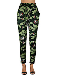 cheap -Women's Simple Chino Comfort Casual Weekend Chinos Pants Camouflage Full Length Drawstring Army Green Fuchsia Green Dark Gray Light Green