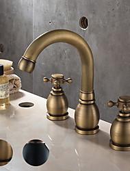 cheap -Bathroom Sink Faucet - Widespread Antique Copper / Black Centerset Two Handles One HoleBath Taps