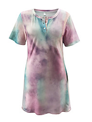 cheap -Women's Tee Dress Tie Dye Sport Athleisure Dress Short Sleeves Breathable Soft Comfortable Everyday Use Casual Daily Outdoor
