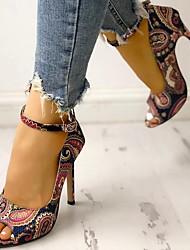 cheap -Women's Heels Stiletto Heel Round Toe Daily PU Dark Blue