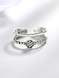cheap -Open Cuff Ring Synthetic Diamond Classic Silver S925 Sterling Silver Precious Unique Design Fashion 1pc Adjustable / Women's