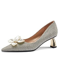 cheap -Women's Wedding Shoes Flare Heel Pointed Toe Wedding Pumps Wedding Daily Nappa Leather White Silver