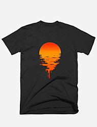 cheap -Men's Unisex T shirt Hot Stamping Sun Plus Size Print Short Sleeve Casual Tops 100% Cotton Casual Fashion Black