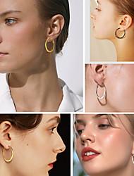 cheap -Women's Hoop Earrings Huggie Earrings Geometrical Fashion Stylish Simple Trendy Stainless Steel Earrings Jewelry Black / Gold / Silver For Birthday Party Evening Street Gift