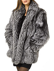 cheap -womens fuax fur coat winter warm fluffy faux fur parka jacket thick plus size outerwear overcoat (white, small)