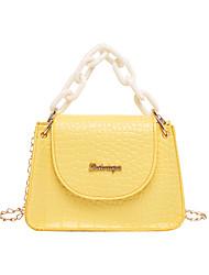 cheap -Women's Bags PU Leather Crossbody Bag Chain Classic Fashion Shopping Daily 2021 Handbags Chain Bag Black Yellow Blushing Pink Light Purple