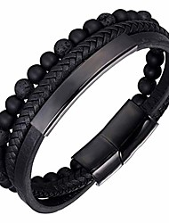 cheap -Mens Bead Leather Bracelet with Stainless Steel Magnetic Clasp, Natural Bead Bracelet for Men (Black)