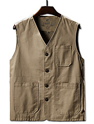 cheap -Men's Hiking Vest / Gilet Fishing Vest Sleeveless V Neck Vest / Gilet Top Outdoor Multi-Pockets Quick Dry Lightweight Breathable Summer Cotton Polyester Solid Color Navy off white Gray Fishing