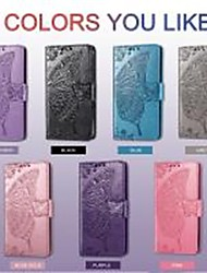 cheap -Phone Case For OPPO Find X2 / Reno 4 Pro 5G / OPPO A53 Shockproof / Embossed / Magnetic Full Body Cases Butterfly / Solid Colored PU Leather / TPU