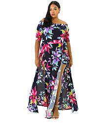 cheap -Women's Plus Size Dress Sheath Dress Maxi long Dress Half Sleeve Floral Prom Dresses Spring & Summer
