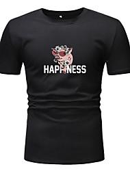 cheap -Men's Unisex T shirt Other Prints Graphic Plus Size Short Sleeve Casual Tops Basic White Black
