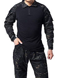 cheap -Men's Hunting Jacket Outdoor Breathable Ventilation Wearable Outdoor Fall Spring Summer Solid Colored Cotton Polyester Black Army Green Camouflage