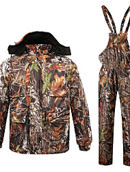 cheap -Men's Hunting Jacket with Pants Outdoor Thermal Warm Windproof Quick Dry Breathable Winter Camo / Camouflage Top Bottoms Spandex Camping / Hiking Hunting Camouflage / Micro-elastic / Sweat wicking