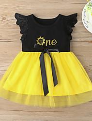 cheap -Kids Little Girls' Dress Letter Mesh Lace Trims Black Knee-length Short Sleeve Active Dresses Regular Fit 3-10 Years