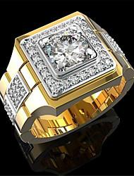cheap -Band Ring Geometrical Gold Zircon Copper Gold Plated Precious Fashion 1pc 8 9 10 / Men's